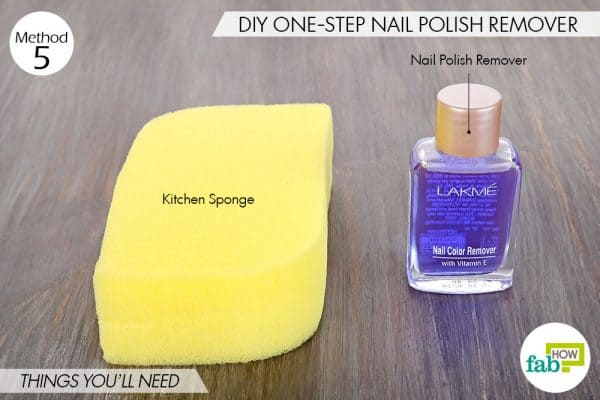 Things needed for DIY kitchen sponge hacks to make DIY one-step nail polish remover