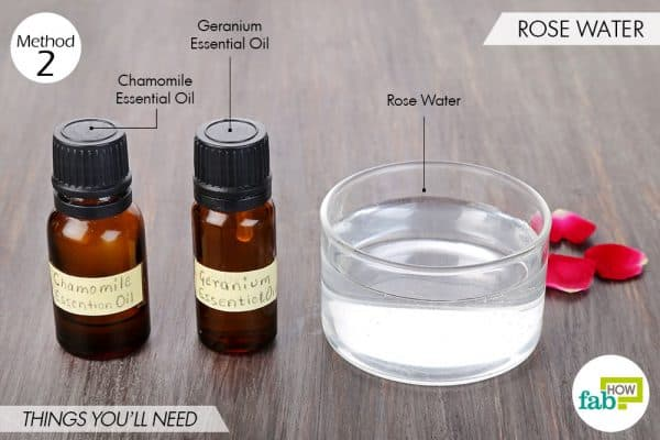 Things needed to make DIy facial toner using rose water with chamomile and geranium essential oils