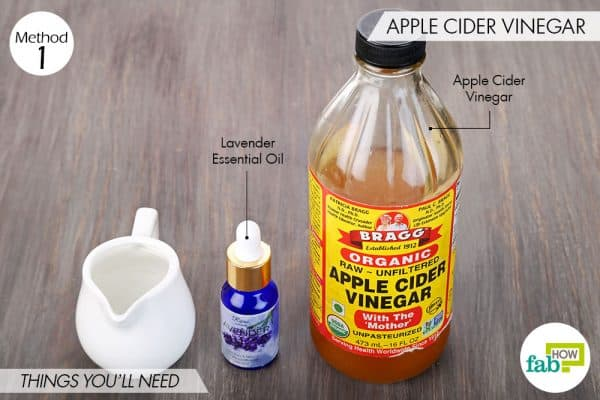 Things needed to make DIY facial toner using apple cider vinegar and lavender oil