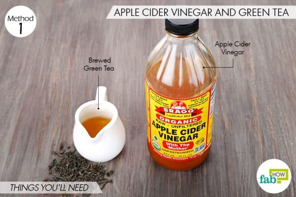 Things needed to make DIY facial toner for oily and acne-prone skin using apple cider vinegar and green tea