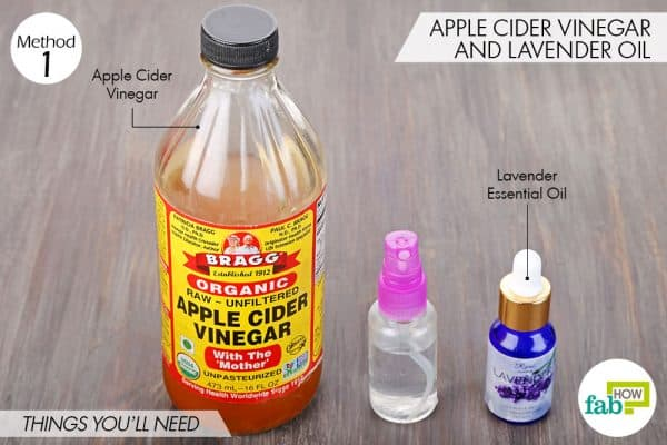 Things needed to make DIY facial toner for dry skin using apple cider vinegar and lavender oil