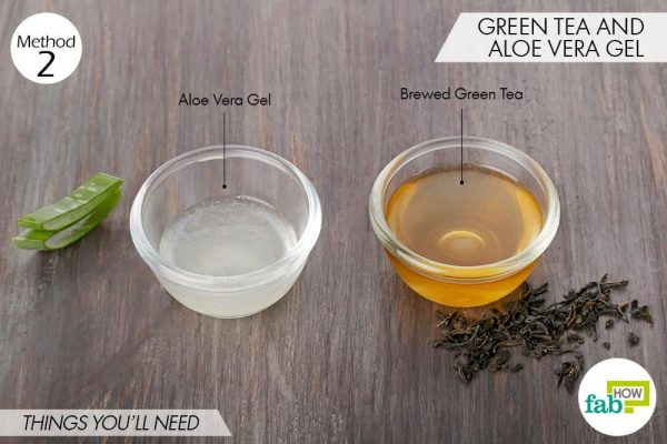 Things needed to make DIY facial toner for dry skin using green tea and aloe vera gel