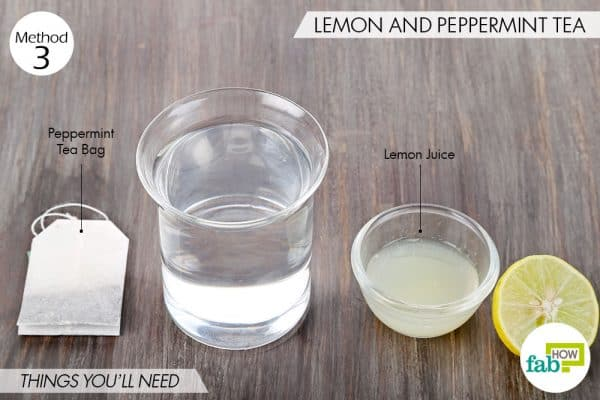 Things needed to make DIY facial toner for oily skin using lemon and peppermint tea