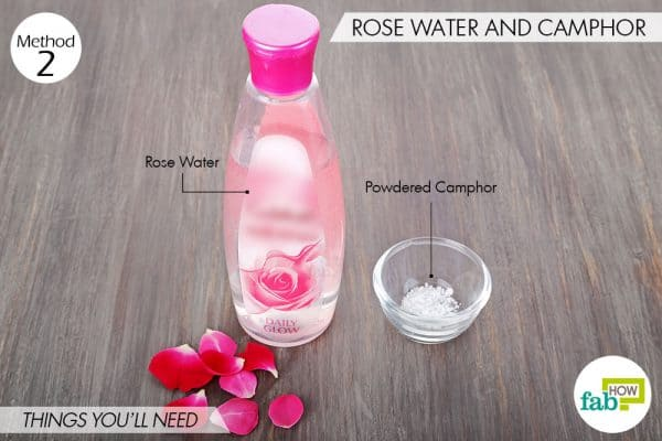Things needed to make DIY facial toner for oily and acne-prone skin using rose water and camphor