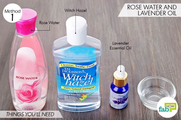 Things needed to make DIY facial toner for sensitive skin using rose water, witch hazel and lavender oil