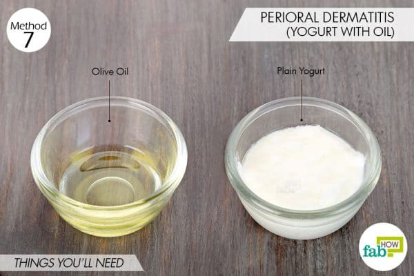 Things needed to treat perioral dermatitis using yogurt for health with olive oil