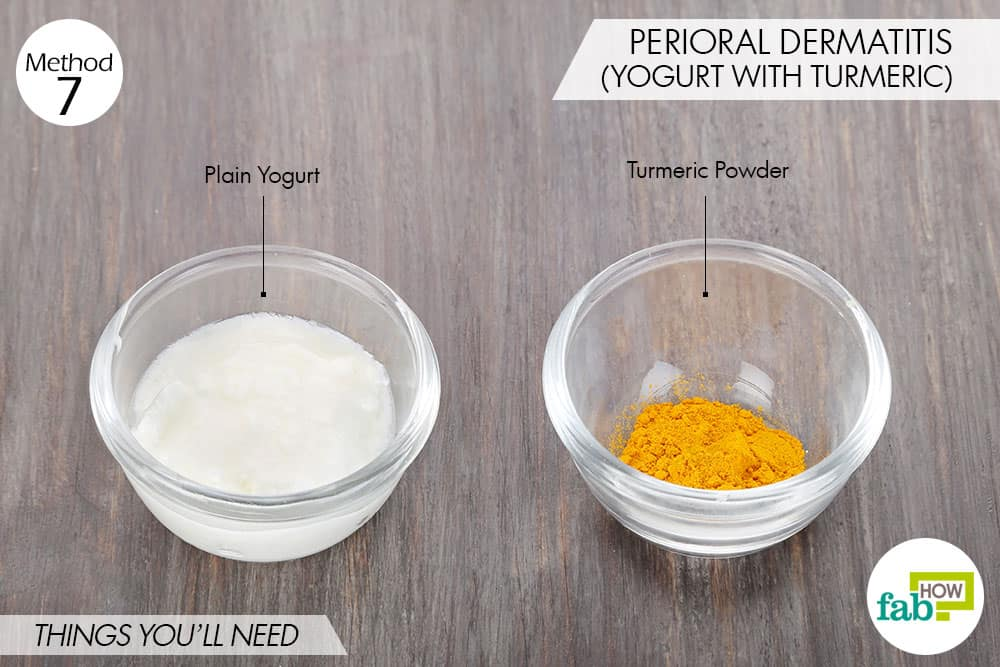 Things needed to treat perioral dermatitis using yogurt for health with turmeric