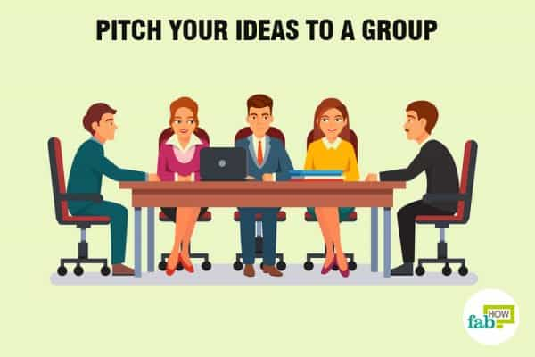 Pitch your ideas to a group to deal with a narcissist