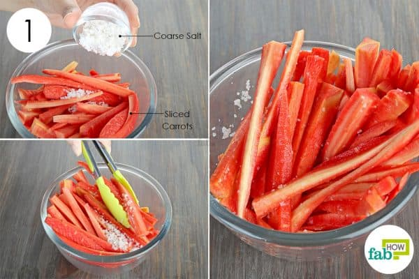 coat the sliced carrots with salt to store carrots
