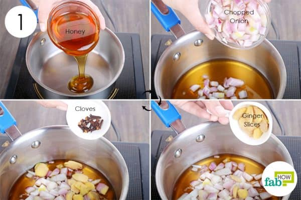 mix honey, onion, ginger, and cloves in pan to make homemade cough syrup
