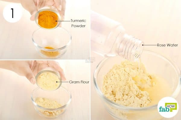 Mix turmeric powder, gram flour, and rose water to use turmeric for beauty