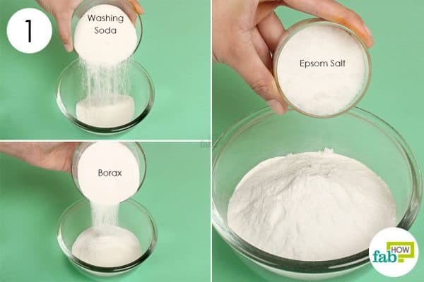 Mix washing soda, borax and Epsom salt in a bowl to use borax for cleaning