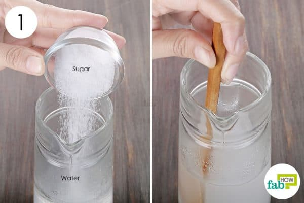 Mix sugar and water together to make DIY hairspray