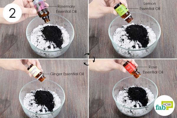 Add 10 to 15 drops of rosemary, lemon, rose, and ginger essential oil to use activated charcoal for beauty