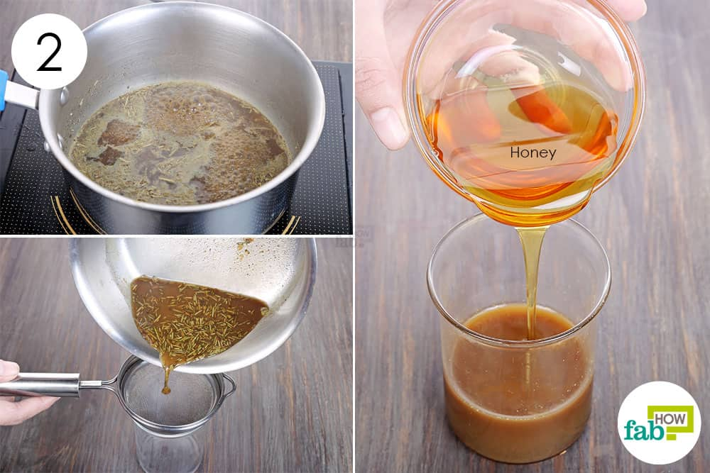 Boil the herbs in water and strain; mix in honey to make homemade cough syrup