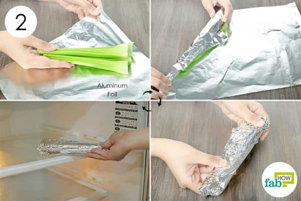 wrap the stalks in aluminum foil & refrigerate them to store celery