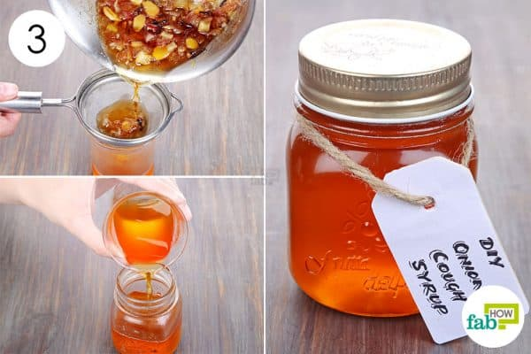 Strain and let it cool down to make homemade cough syrup