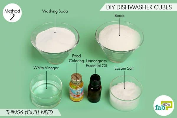 Things needed to use borax for cleaning to make DIY dishwasher cubes