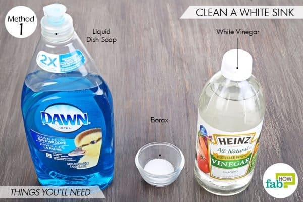 Things needed to use borax for cleaning a white sink
