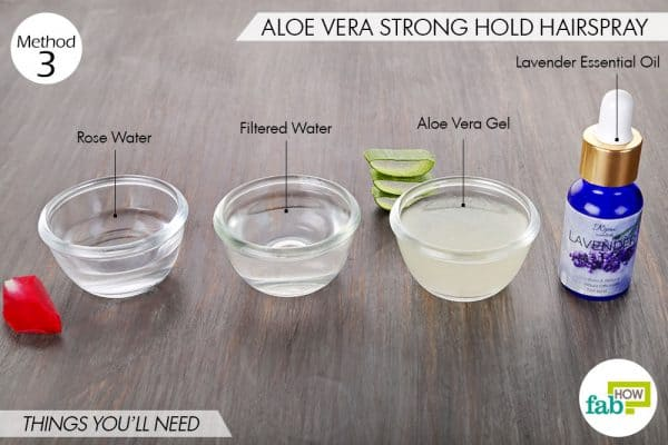 Things needed to make DIY hairspray using aloe vera