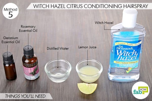 Things needed to make DIY hairspray using witch hazel