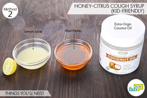 Things needed to make homemade cough syrup with honey-citrus