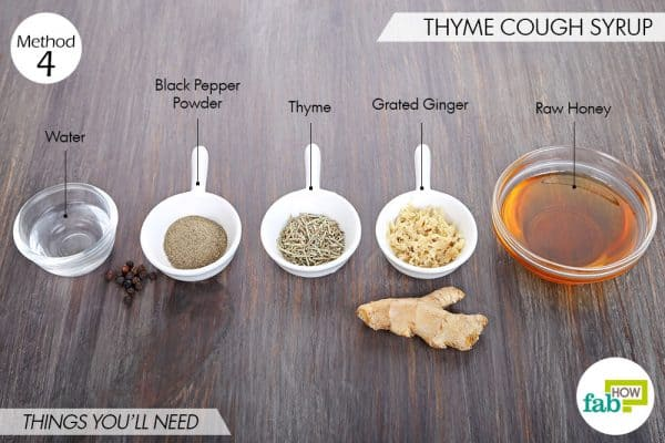 Things needed to make homemade cough syrup with thyme