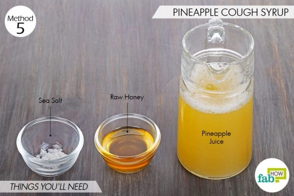 Things needed to make homemade cough syrup with pineapple