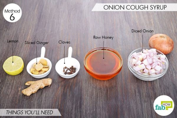 Things needed to make homemade cough syrup with onion