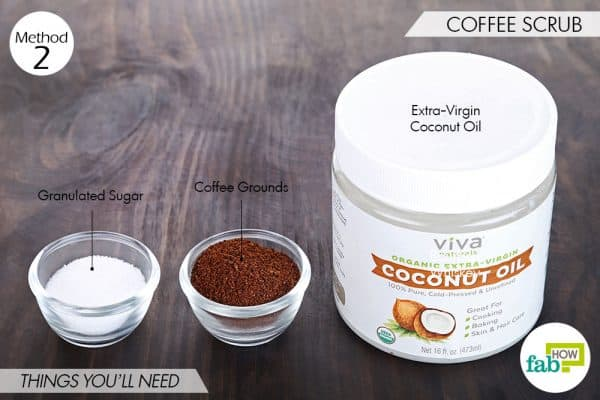 Things needed to make DIY foot scrub using coffee
