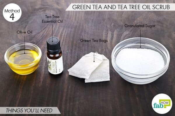 Things needed to make DIY foot scrun using green tea and tea tree oil