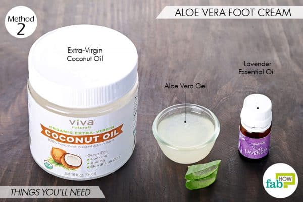 Things needed to make DIY foot cream with aloe vera