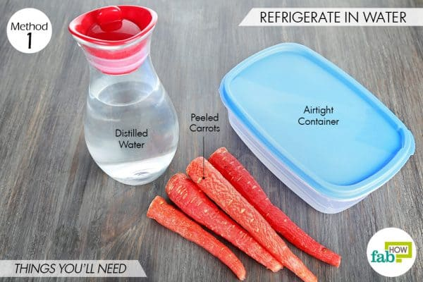 things needed to store carrots by refrigerating them in water