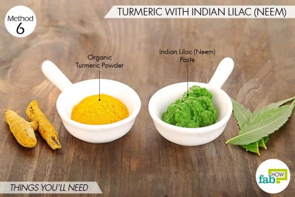 Use turmeric for eczema with indian lialac or neem