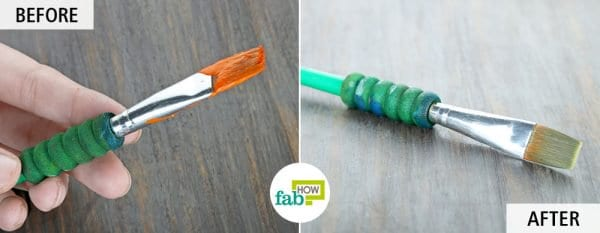use liquid dish soap to clean paintbrushes