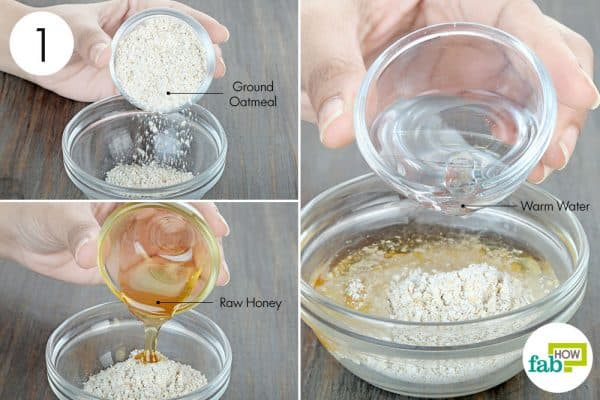 combine ground oatmeal, raw honey, and warm water to use oatmeal for beauty