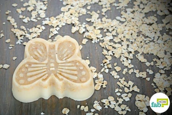 make DIY goat milk soap using oatmeal and honey