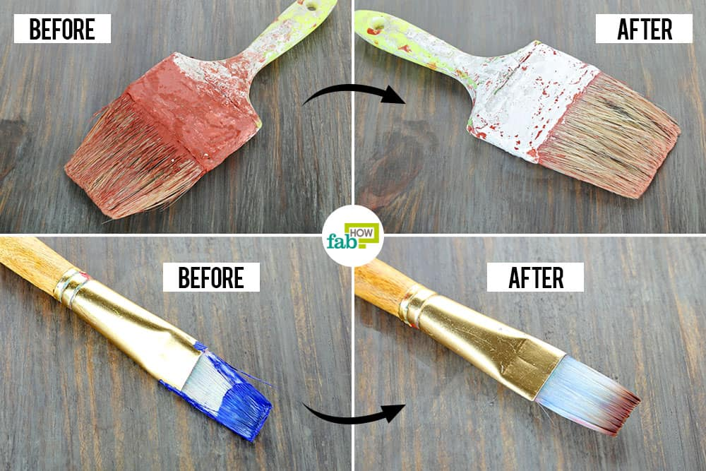 Cleaning dried oil paint brushes
