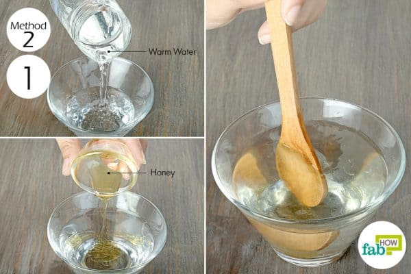 mix honey and water to prevent fruit slices from turning brown