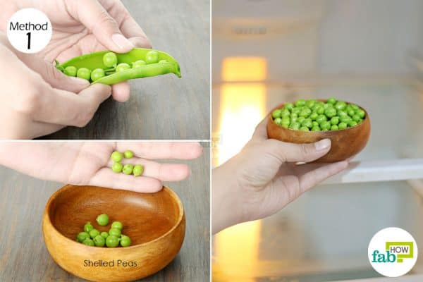 place the shelled peas inside the fridge for storage