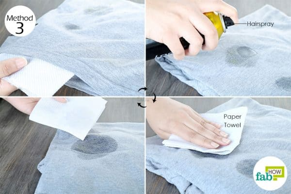 spray hairspray to clean food grease stains from clothes