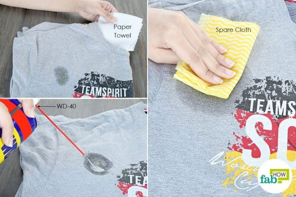spray WD-40 to clean food grease from clothes