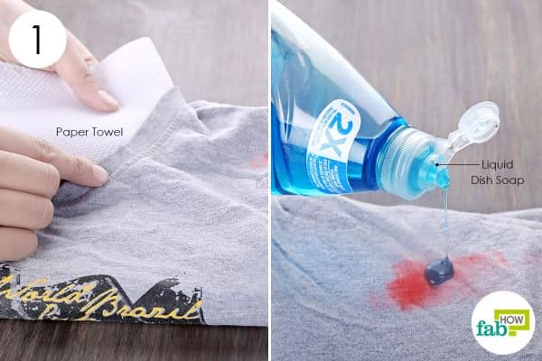 apply dish soap to remove lipstick stains from clothes