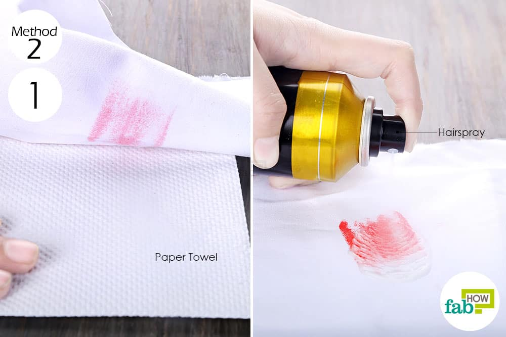 squirt hairspray to remove lipstick stains from clothes
