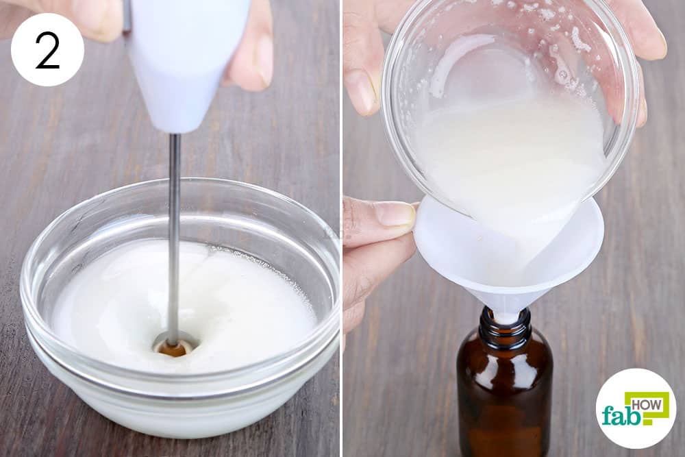 blend and transfer to a dark glass bottle to make DIY face serum