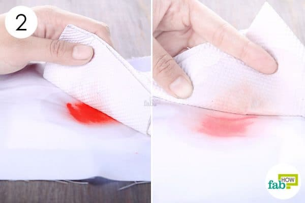 blot with paper towels to remove lipstick stains from clothes