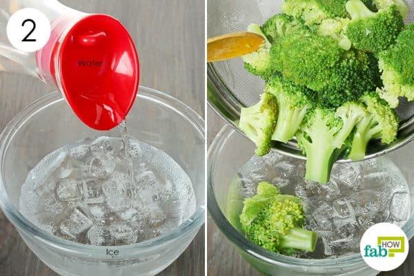 dunk the blanched florets in a bowl of ice cold water to store broccoli