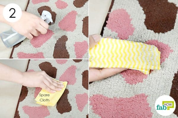 spray and blot to clean a rug