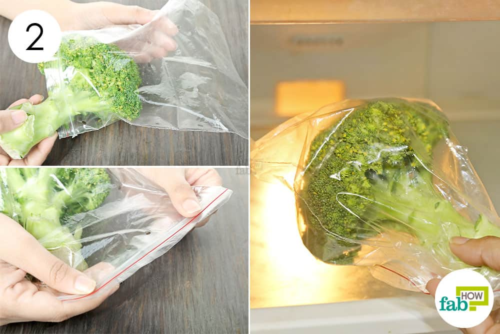 use a ziplock bag to store broccoli