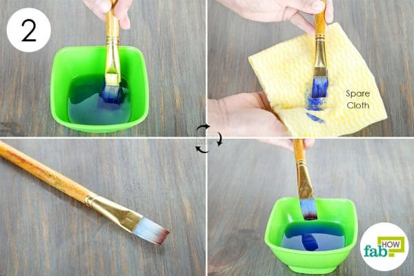 swirl and dry to clean paintbrushes